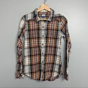KAVU | flannel shirt cotton multi color button S